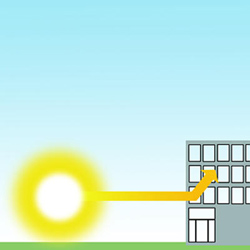 A graphic showing how the sun enters windows.