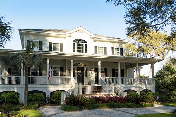 Classic Hilton Head home with energy saving window film installed.