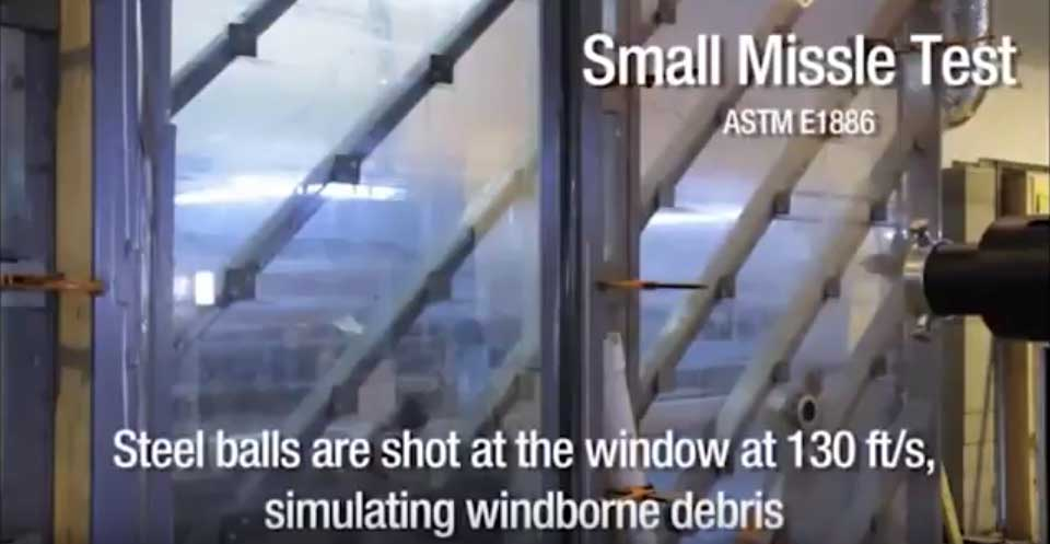 Safety window film protection demonstration.