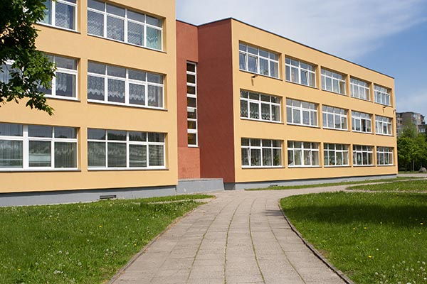 A local school with safety and security window film installed.